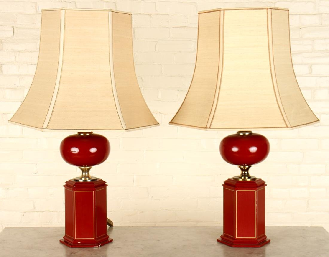 PAIR LAMPS WITH SHADES BRASS ACCENTS