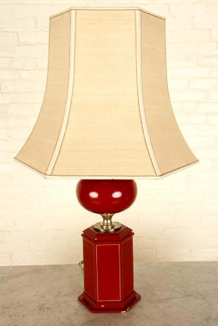PAIR LAMPS WITH SHADES BRASS ACCENTS - 2