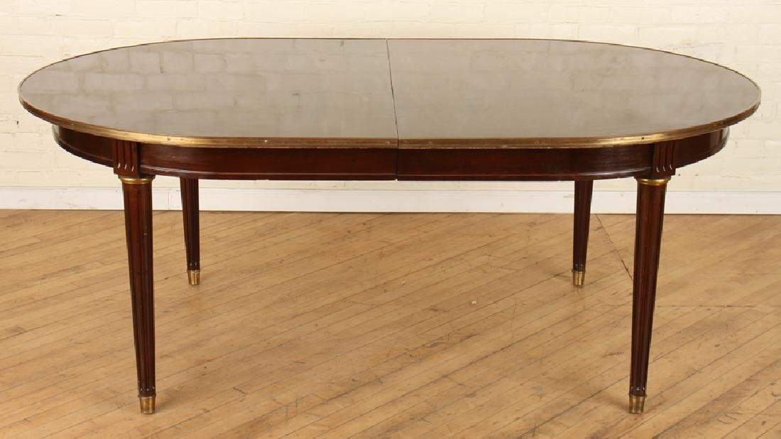 FRENCH MAHOGANY JANSEN DINING TABLE BRONZE ACCENT