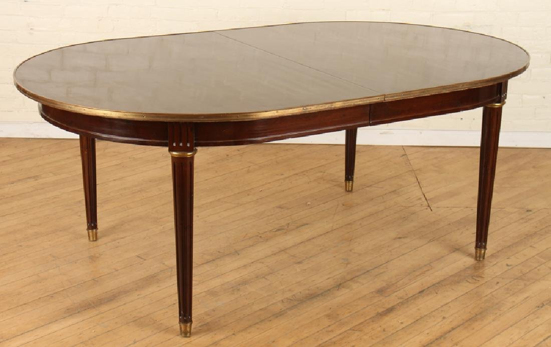 FRENCH MAHOGANY JANSEN DINING TABLE BRONZE ACCENT - 2