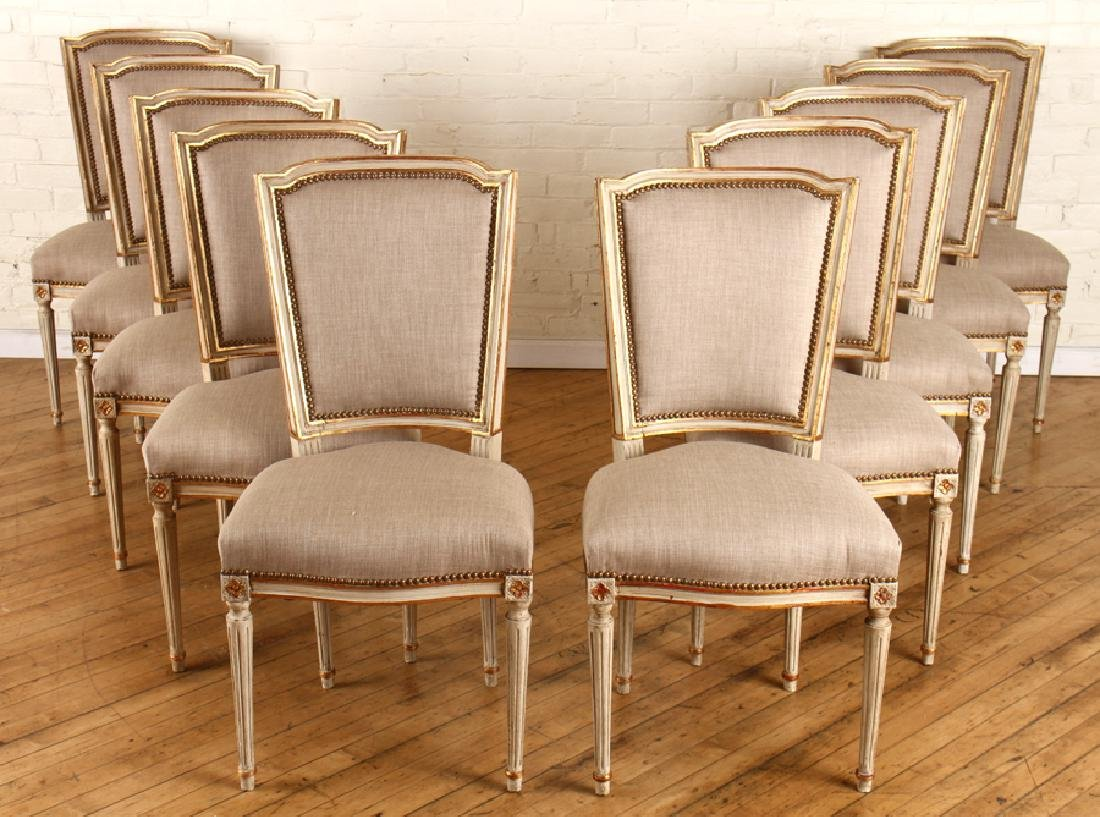 SET 10 PAINTED GILT LOUIS XVI DINING CHAIRS C1930