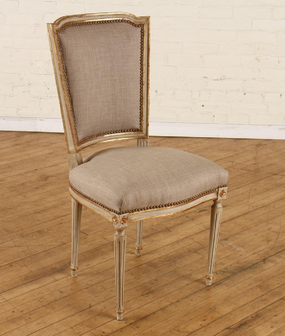 SET 10 PAINTED GILT LOUIS XVI DINING CHAIRS C1930 - 2