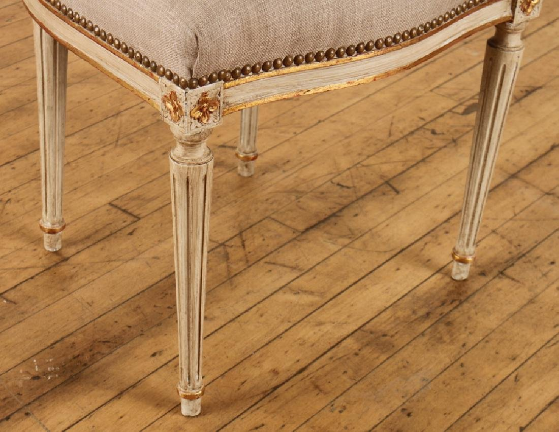SET 10 PAINTED GILT LOUIS XVI DINING CHAIRS C1930 - 5