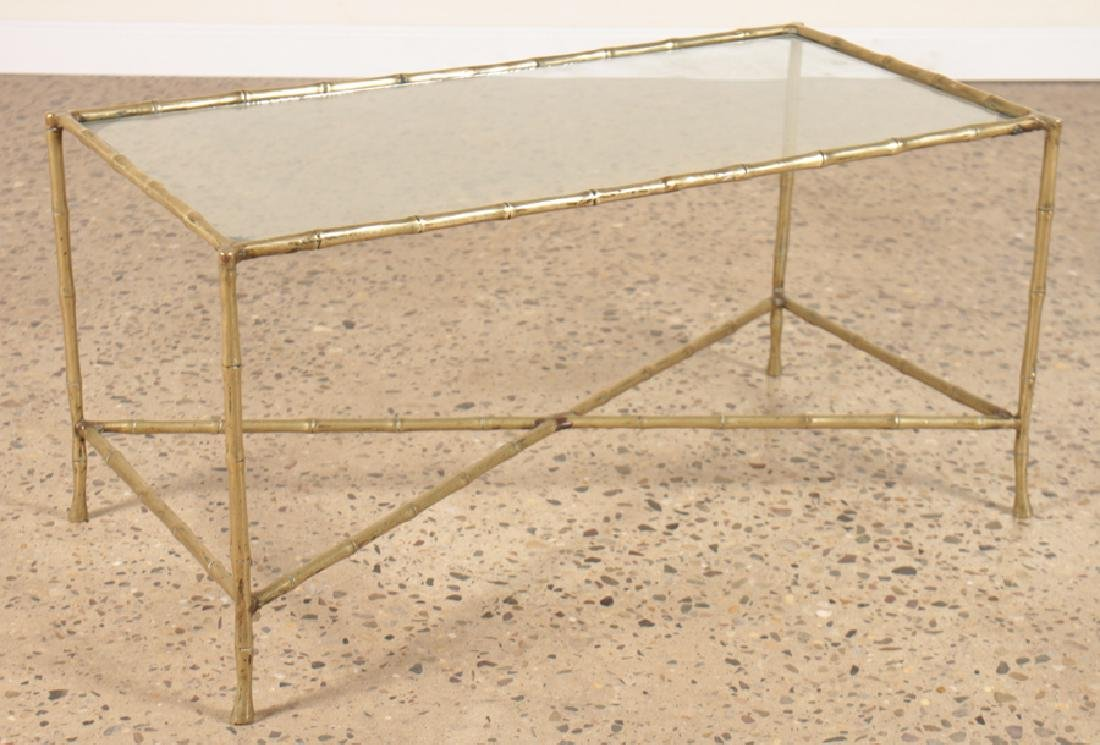 FAUX BAMBOO BRONZE COFFEE TABLE WITH GLASS TOP