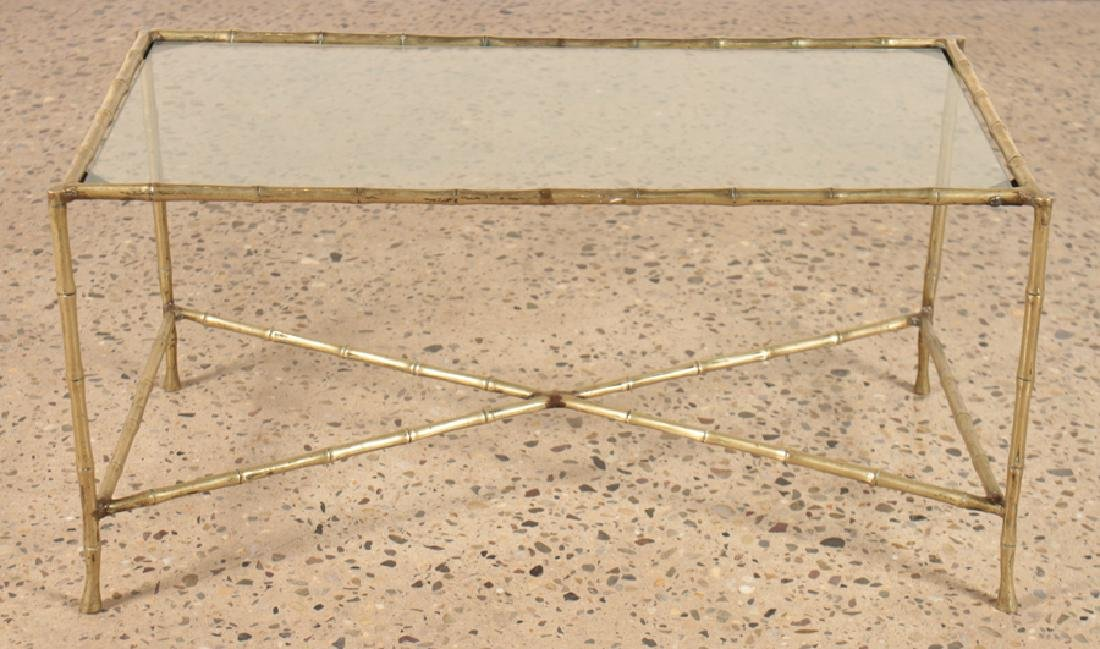 FAUX BAMBOO BRONZE COFFEE TABLE WITH GLASS TOP - 2