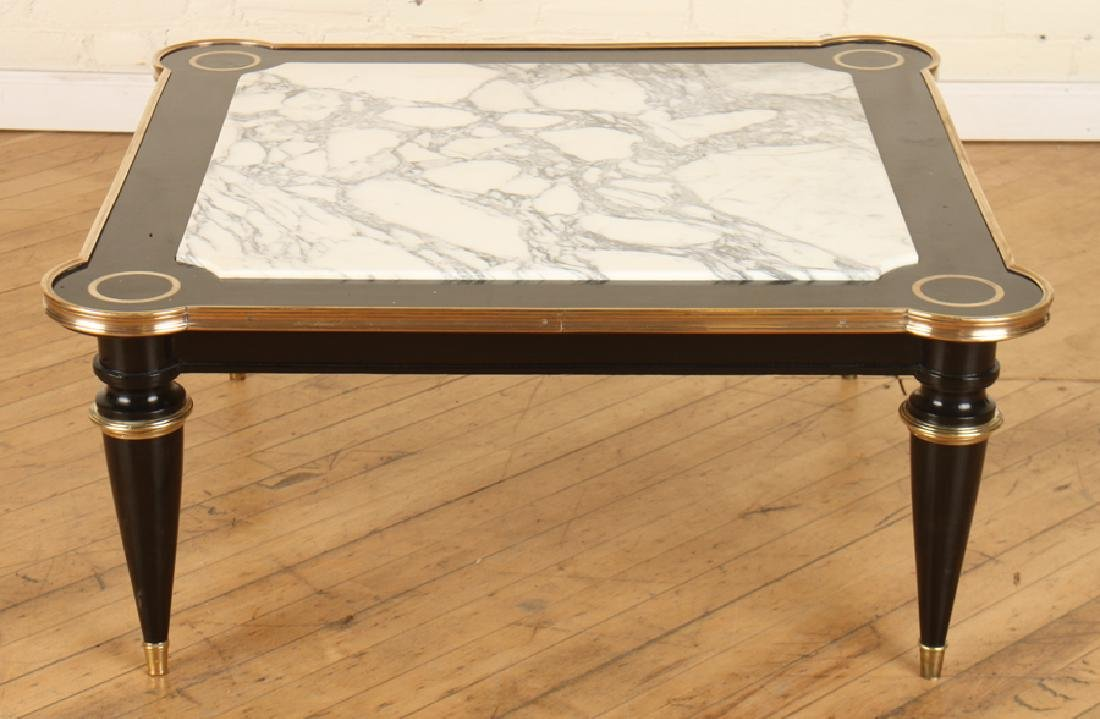 JANSEN EBONIZED WOOD MARBLE TOP COFFEE TABLE