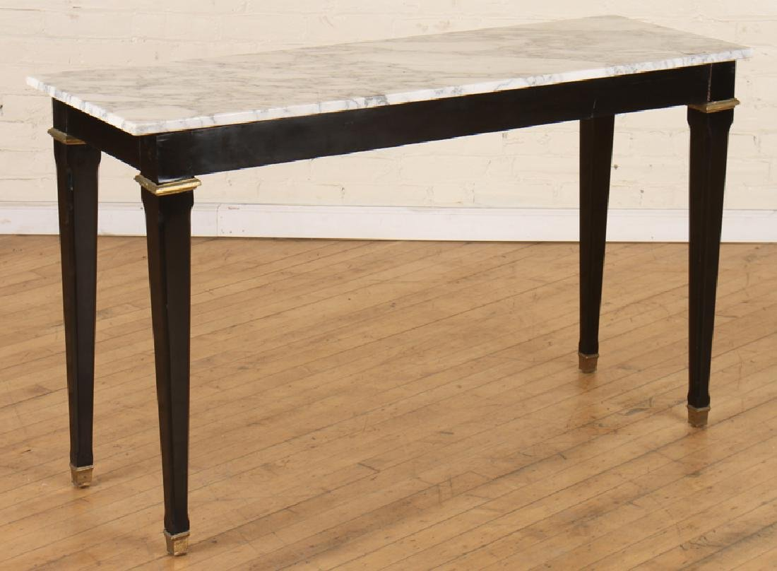 MARBLE TOP BRONZE MOUNTED EBONIZED JANSEN CONSOLE