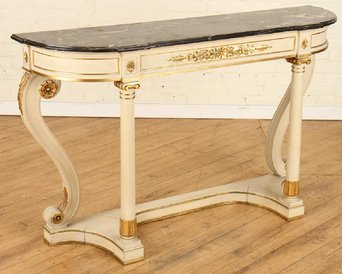 PAINTED GILT WOOD MARBLE TOP CONSOLE TABLE - 2