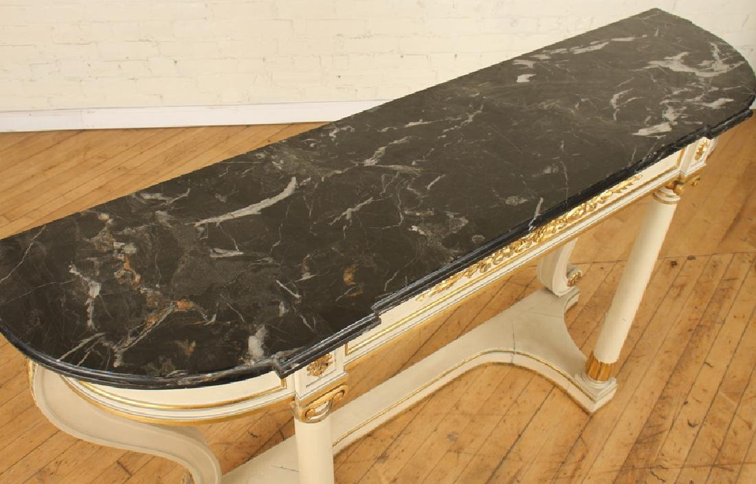 PAINTED GILT WOOD MARBLE TOP CONSOLE TABLE - 3