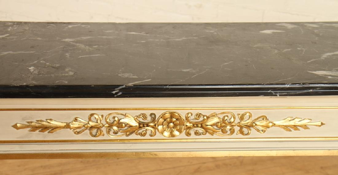 PAINTED GILT WOOD MARBLE TOP CONSOLE TABLE - 5