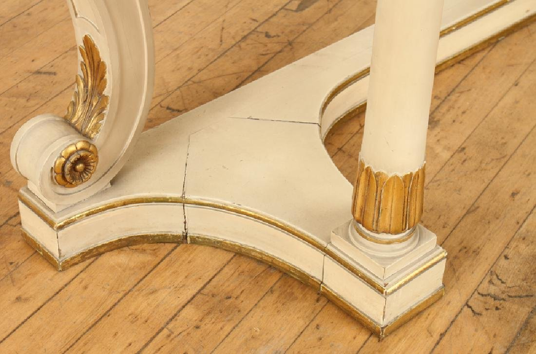 PAINTED GILT WOOD MARBLE TOP CONSOLE TABLE - 6
