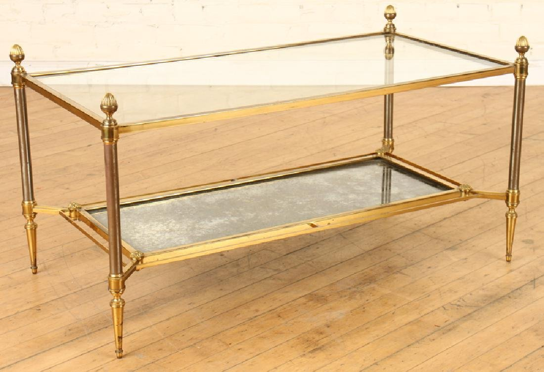 TWO TIER BRONZE COFFEE TABLE CIRCA 1950