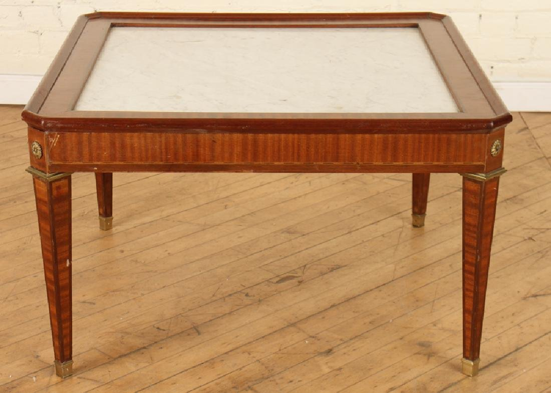 FRENCH MAHOGANY MARBLE TOP JANSEN COFFEE TABLE