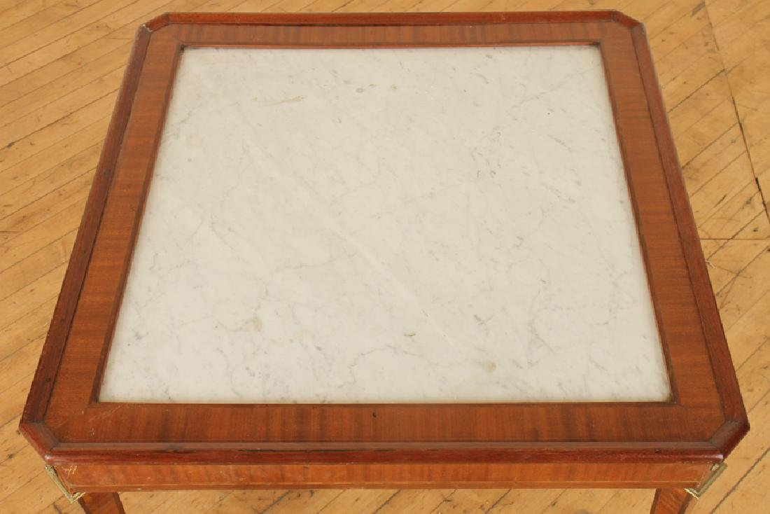FRENCH MAHOGANY MARBLE TOP JANSEN COFFEE TABLE - 2