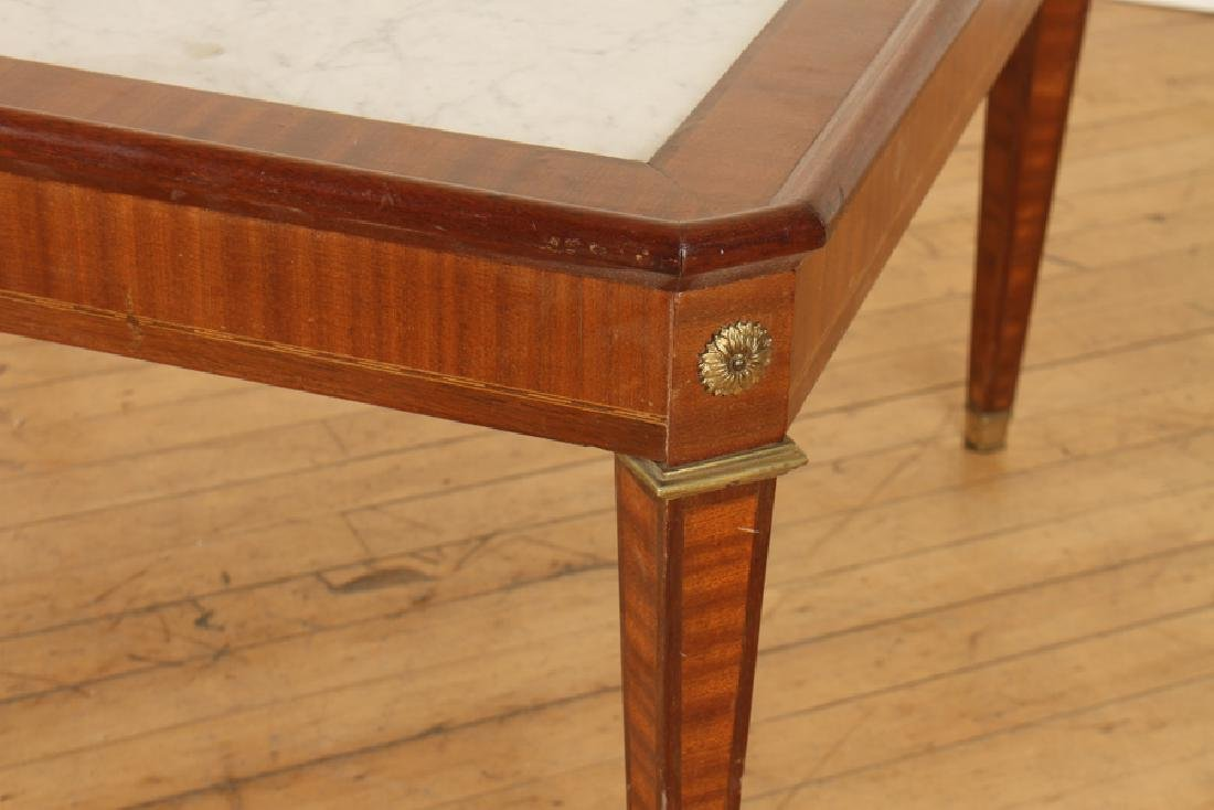 FRENCH MAHOGANY MARBLE TOP JANSEN COFFEE TABLE - 3