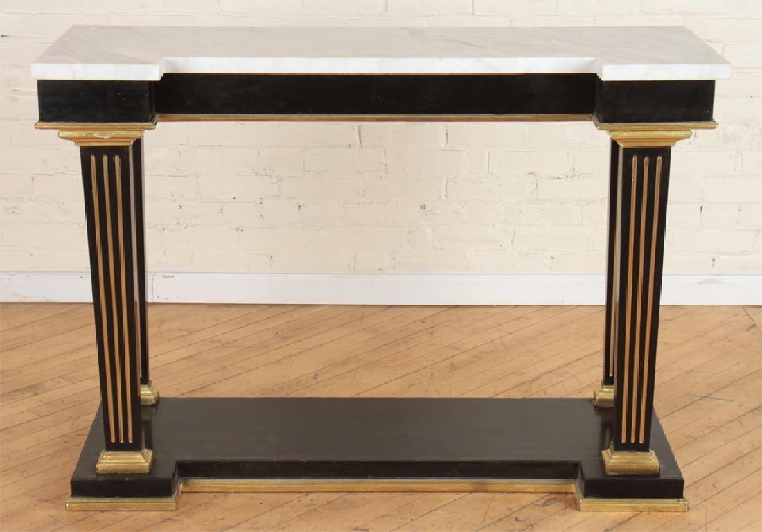 JANSEN MARBLE TOP EBONIZED CONSOLE TABLE C.1940