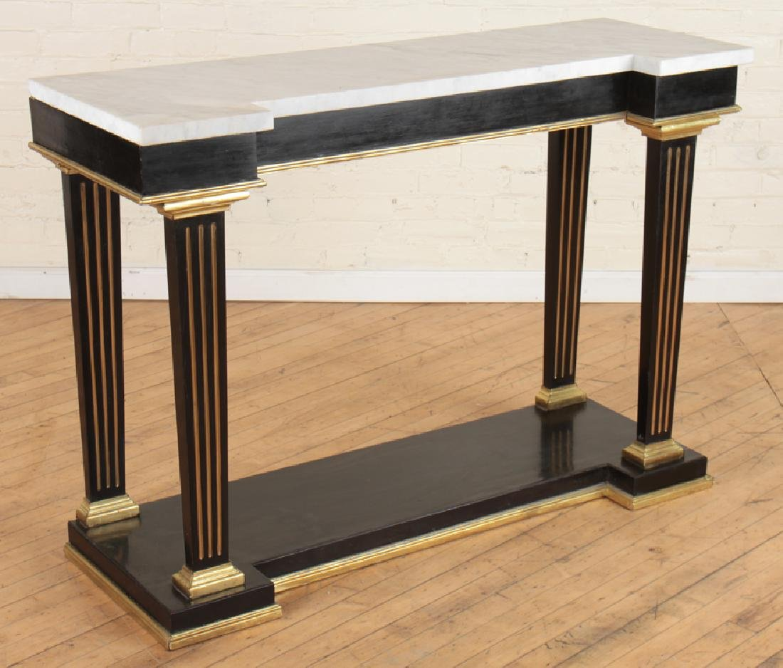 JANSEN MARBLE TOP EBONIZED CONSOLE TABLE C.1940 - 2
