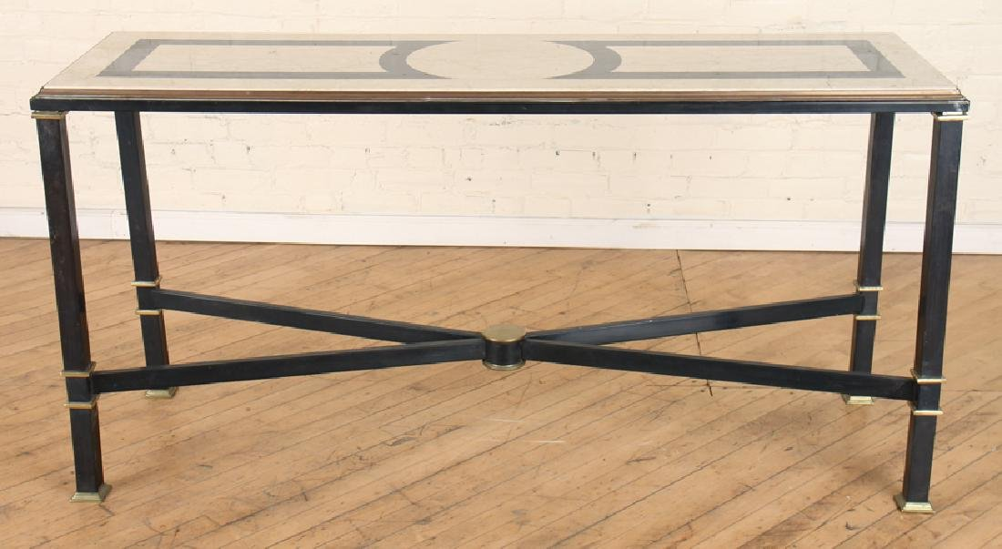 IRON MARBLE TOP X-FORM CONSOLE TABLE BRASS ACCENT