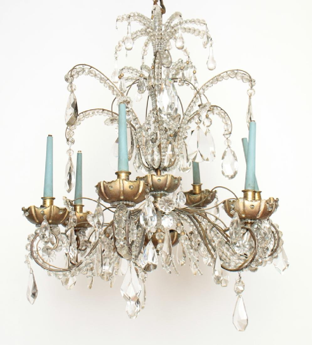 6 ARM BRONZE CRYSTAL JANSEN CHANDELIER C.1940