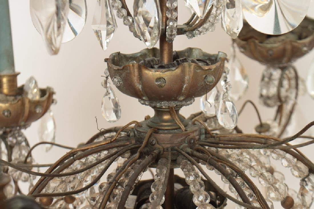 6 ARM BRONZE CRYSTAL JANSEN CHANDELIER C.1940 - 3