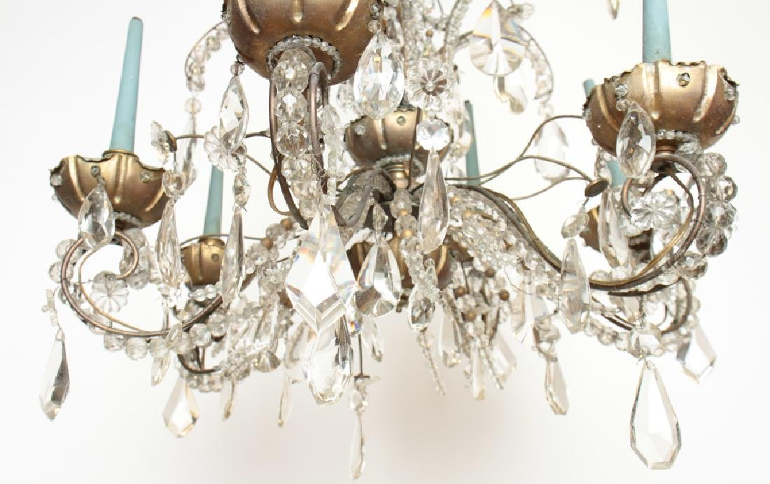 6 ARM BRONZE CRYSTAL JANSEN CHANDELIER C.1940 - 5