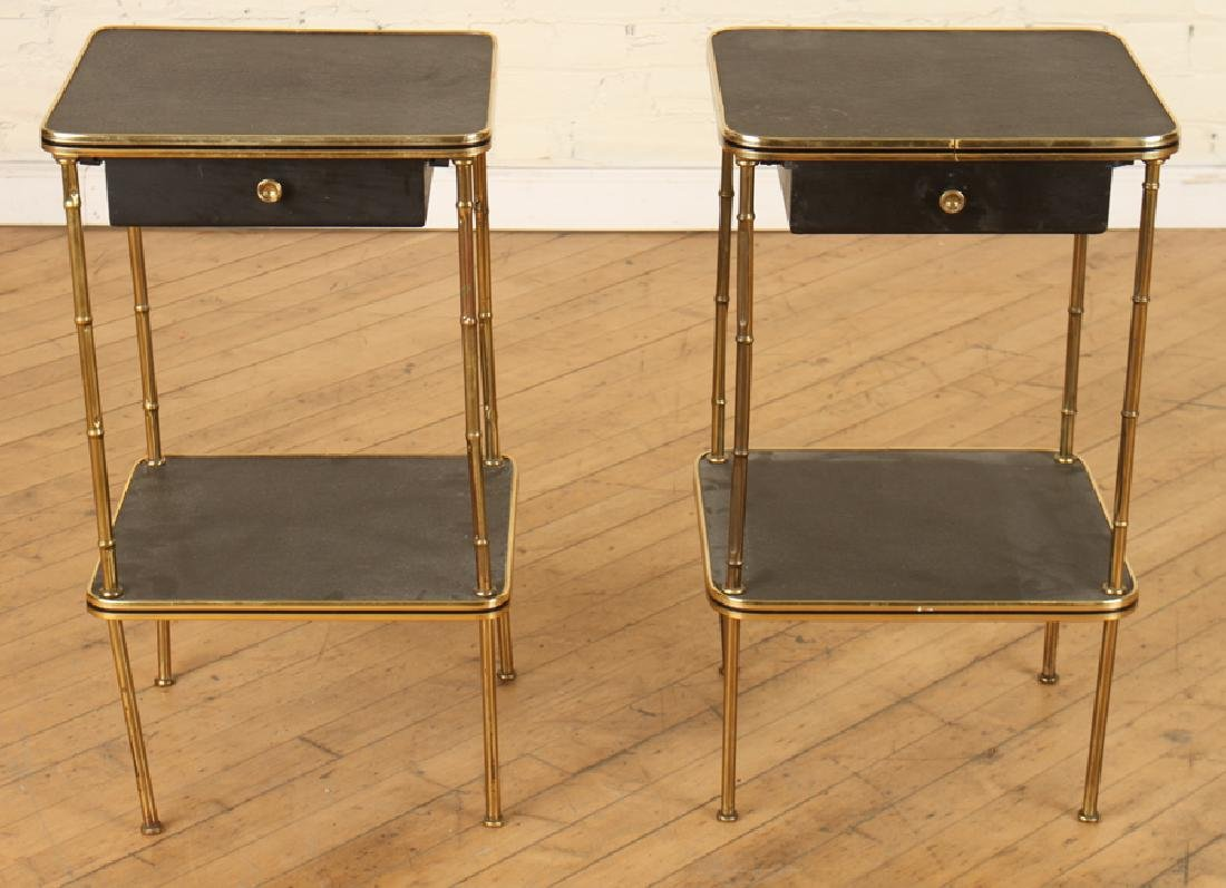 A PAIR OF BRONZE AND LEATHER BAMBOO SIDE TABLES