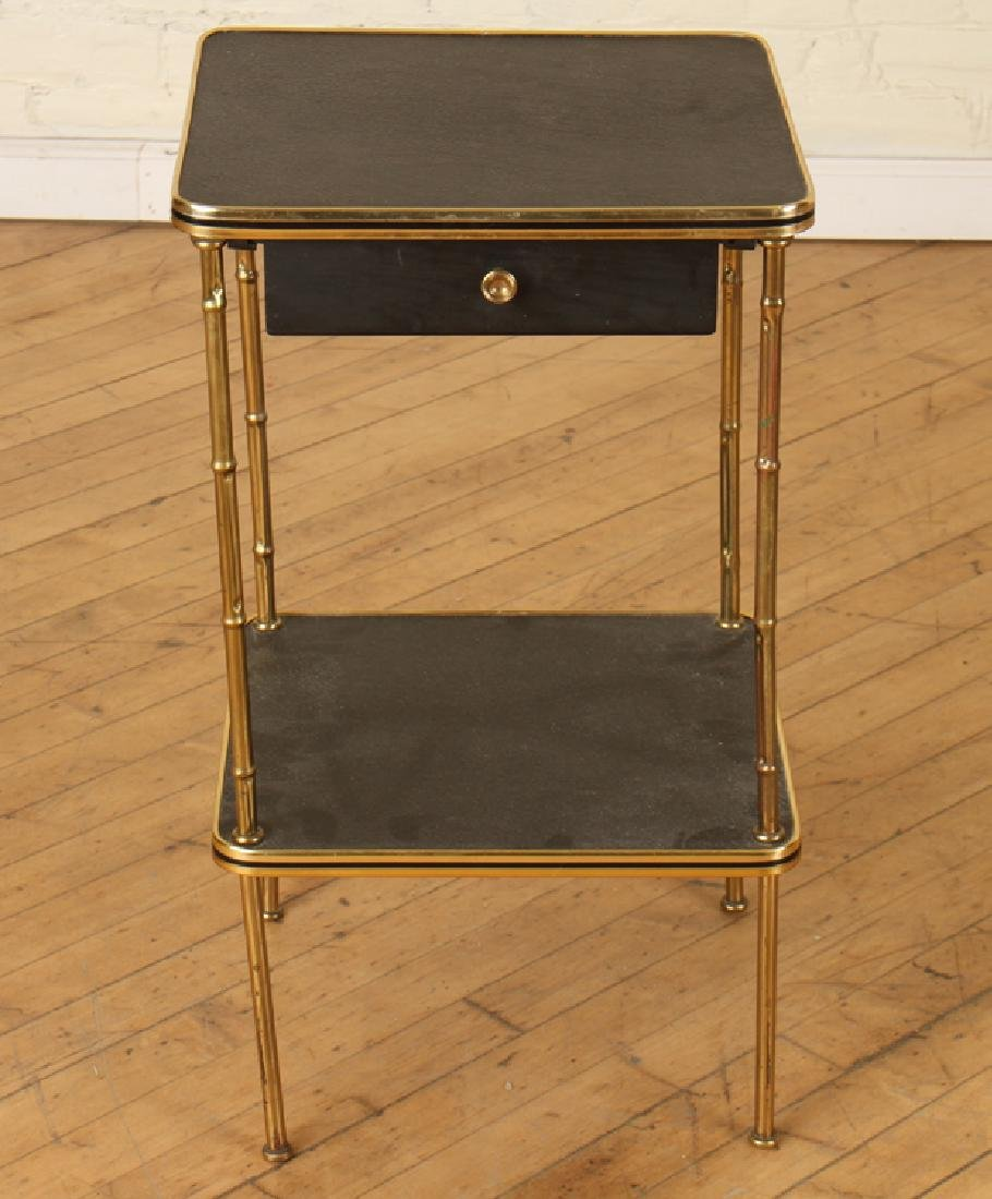 A PAIR OF BRONZE AND LEATHER BAMBOO SIDE TABLES - 2
