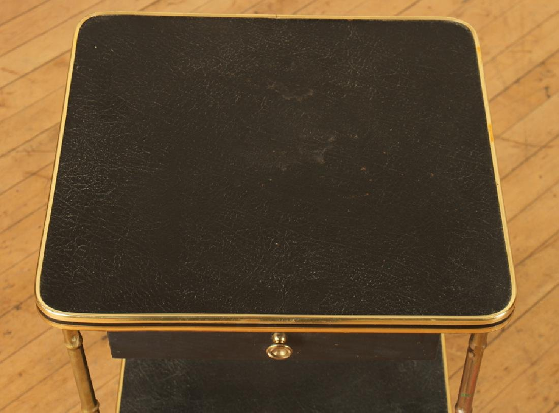 A PAIR OF BRONZE AND LEATHER BAMBOO SIDE TABLES - 3