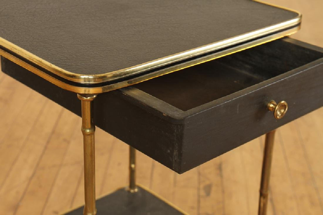 A PAIR OF BRONZE AND LEATHER BAMBOO SIDE TABLES - 4