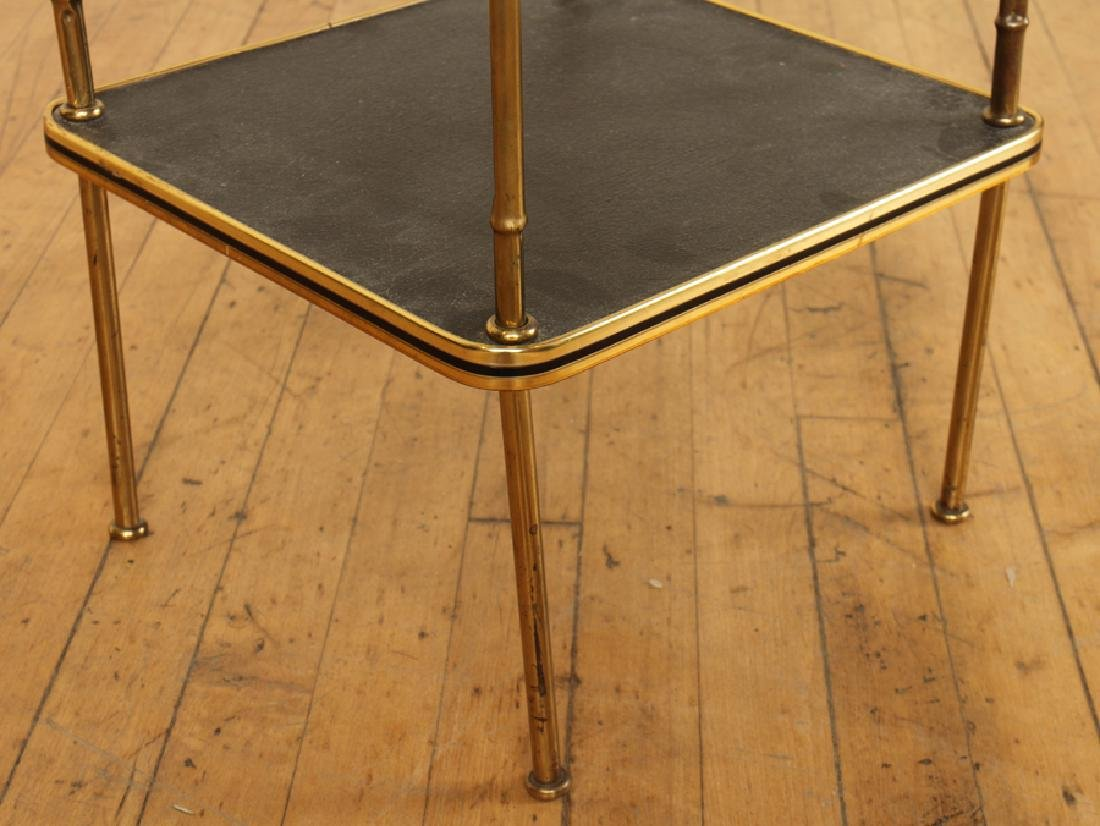 A PAIR OF BRONZE AND LEATHER BAMBOO SIDE TABLES - 5