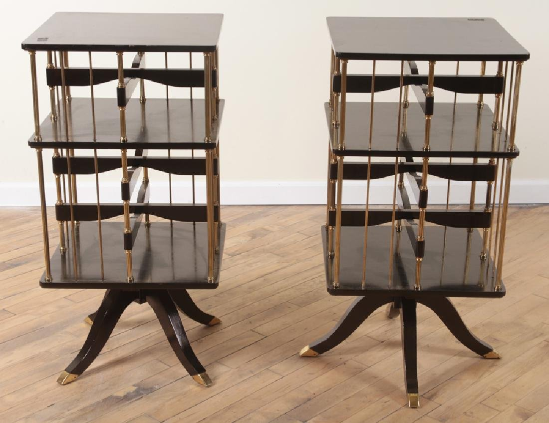 RARE PAIR EBONIZED FRENCH REVOLVING BOOKCASES