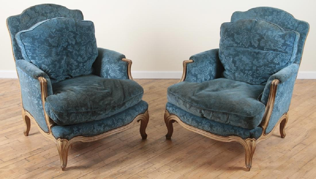 PAIR FRENCH PAINTED CARVED BERGERE CHAIRS C.1900