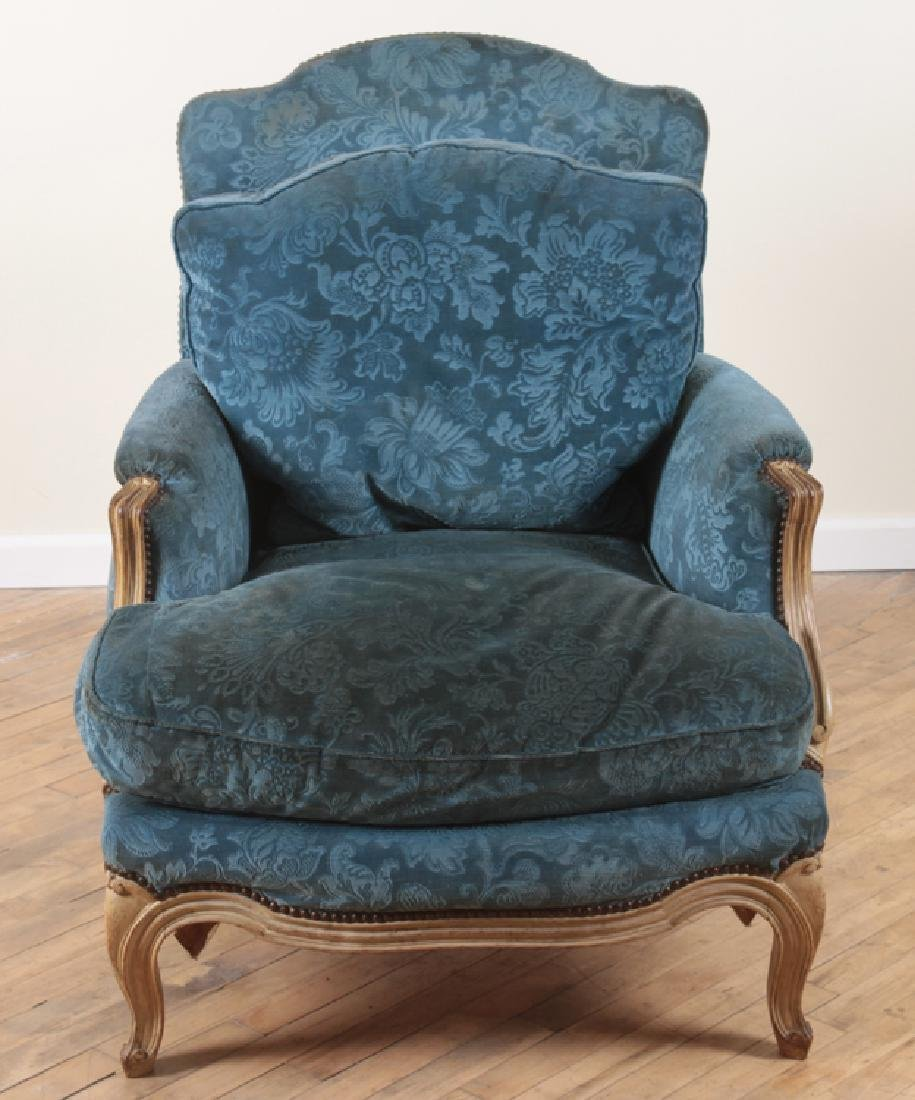 PAIR FRENCH PAINTED CARVED BERGERE CHAIRS C.1900 - 3