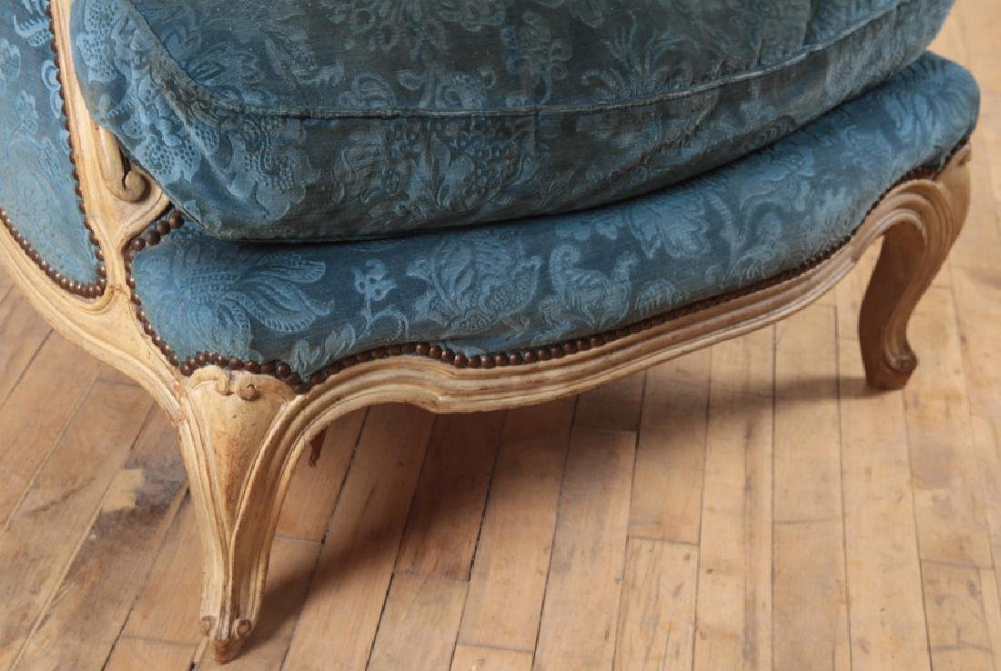 PAIR FRENCH PAINTED CARVED BERGERE CHAIRS C.1900 - 5