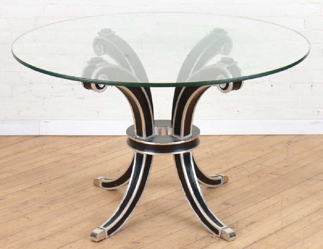 HOLLYWOOD REGENCY STYLE EBONIZED CENTER TABLE