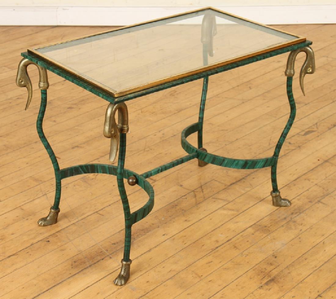 PAIR FAUX MALACHITE IRON SIDE TABLES - 2
