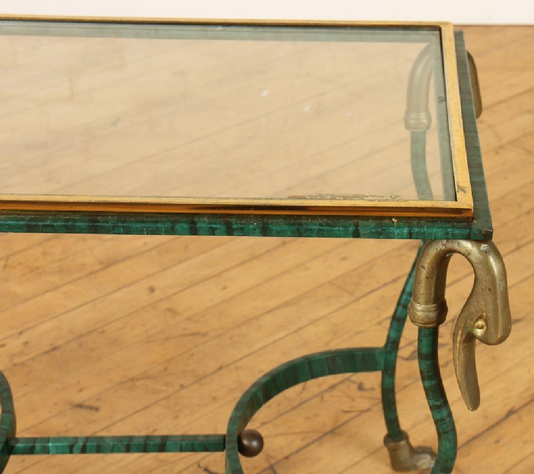 PAIR FAUX MALACHITE IRON SIDE TABLES - 5