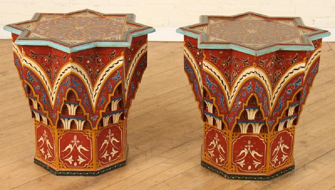 PAIR CARVED MOROCCAN STAR SHAPED SIDE TABLES