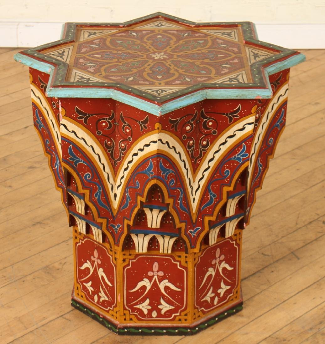 PAIR CARVED MOROCCAN STAR SHAPED SIDE TABLES - 2