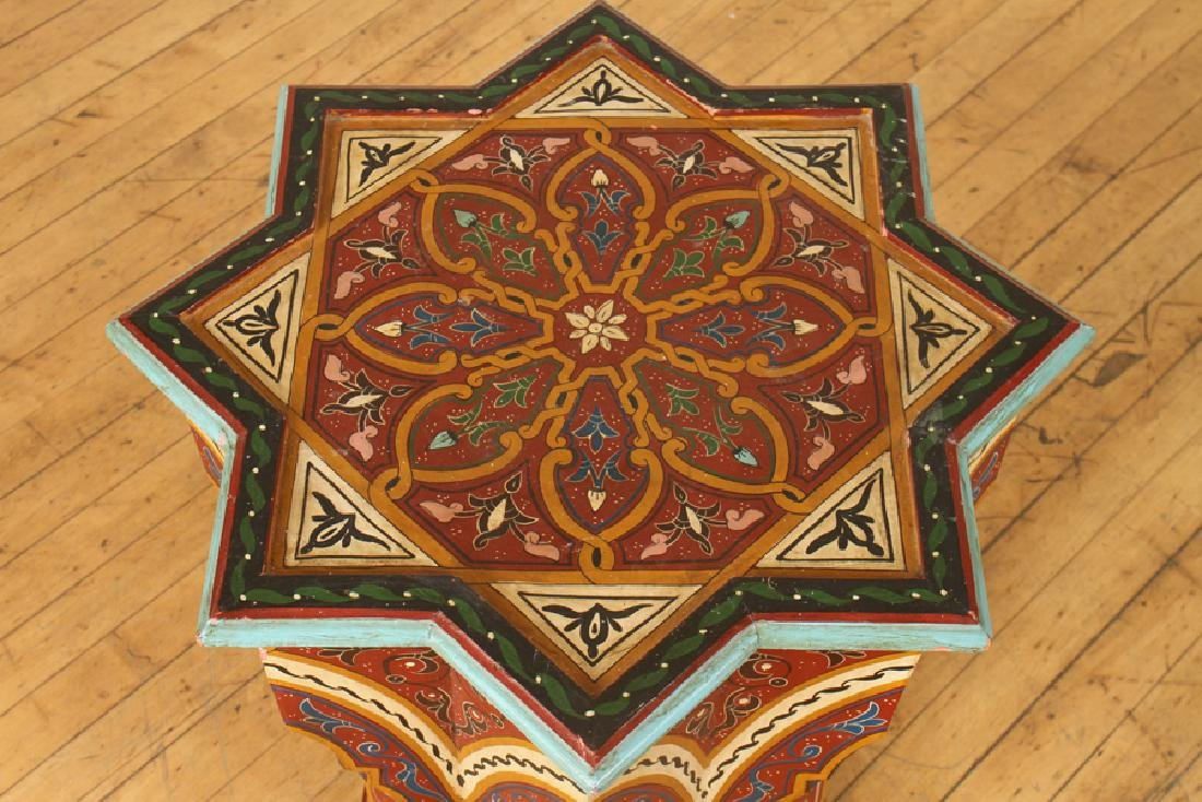 PAIR CARVED MOROCCAN STAR SHAPED SIDE TABLES - 3