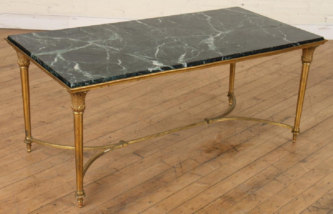 EMPIRE STYLE MARBLE TOP BRONZE COFFEE TABLE C1940