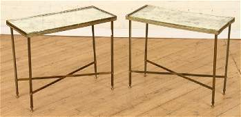 PAIR BRONZE BAGUES SIDE TABLES CIRCA 1968