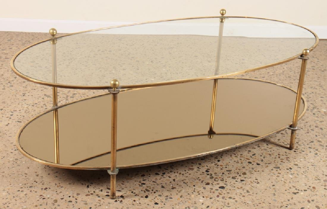 OVAL BRONZE AND GLASS COFFEE TABLE CIRCA 1960