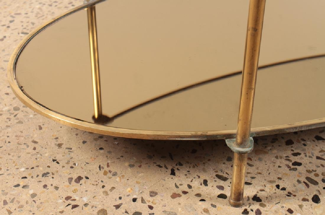 OVAL BRONZE AND GLASS COFFEE TABLE CIRCA 1960 - 4