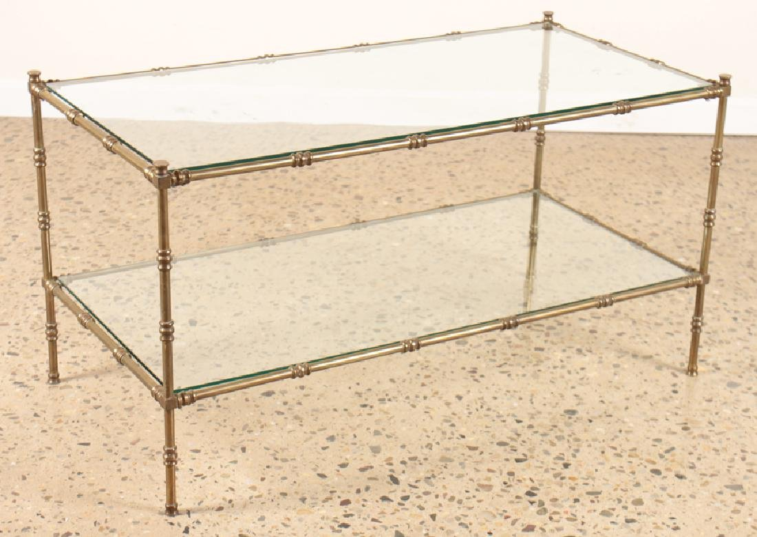 BAGUES STYLE BRONZE AND GLASS COFFEE TABLE C.1960