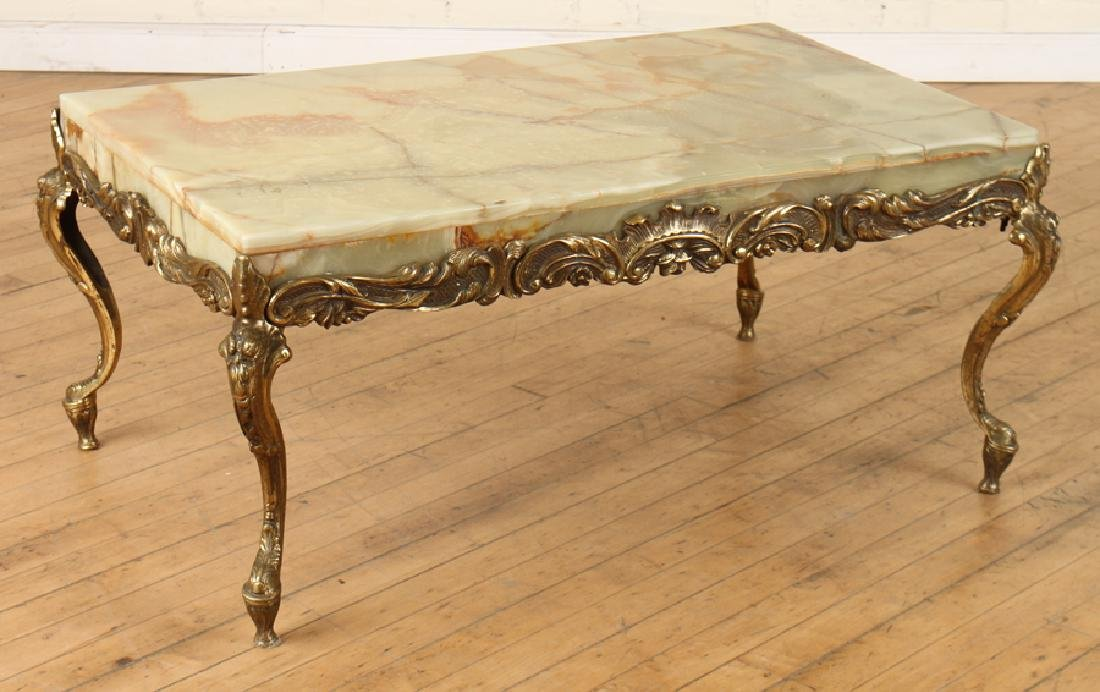 ITALIAN BRASS COFFEE TABLE WITH CABRIOLE LEGS