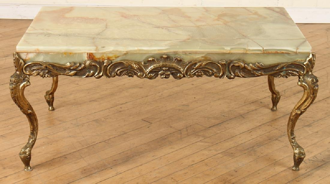 ITALIAN BRASS COFFEE TABLE WITH CABRIOLE LEGS - 2