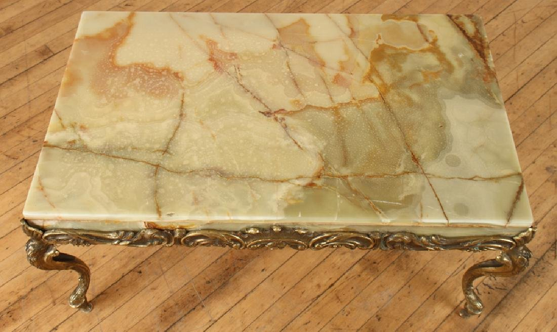 ITALIAN BRASS COFFEE TABLE WITH CABRIOLE LEGS - 3
