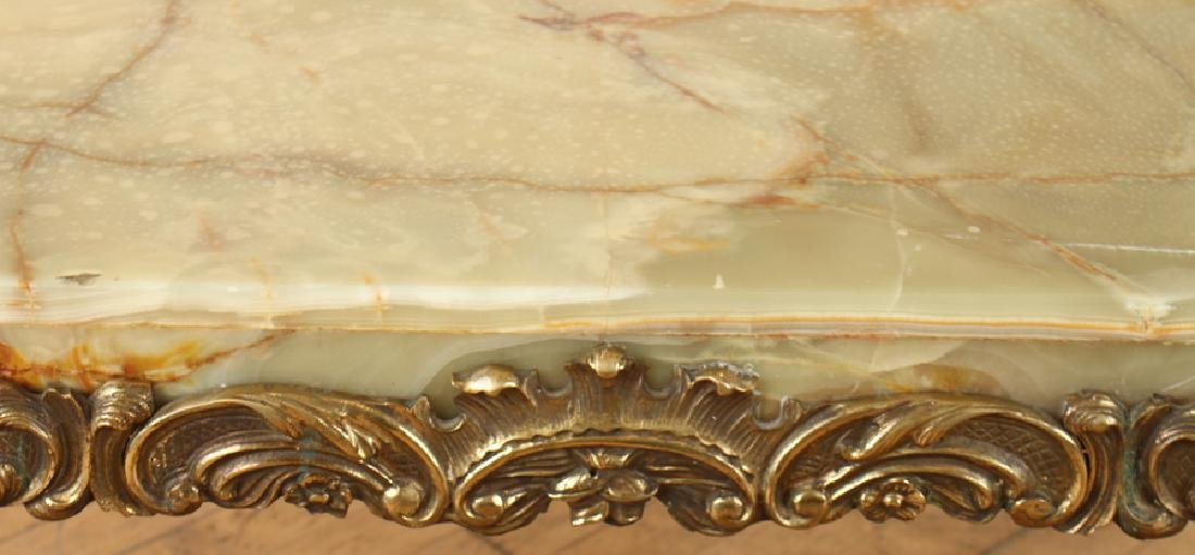ITALIAN BRASS COFFEE TABLE WITH CABRIOLE LEGS - 4