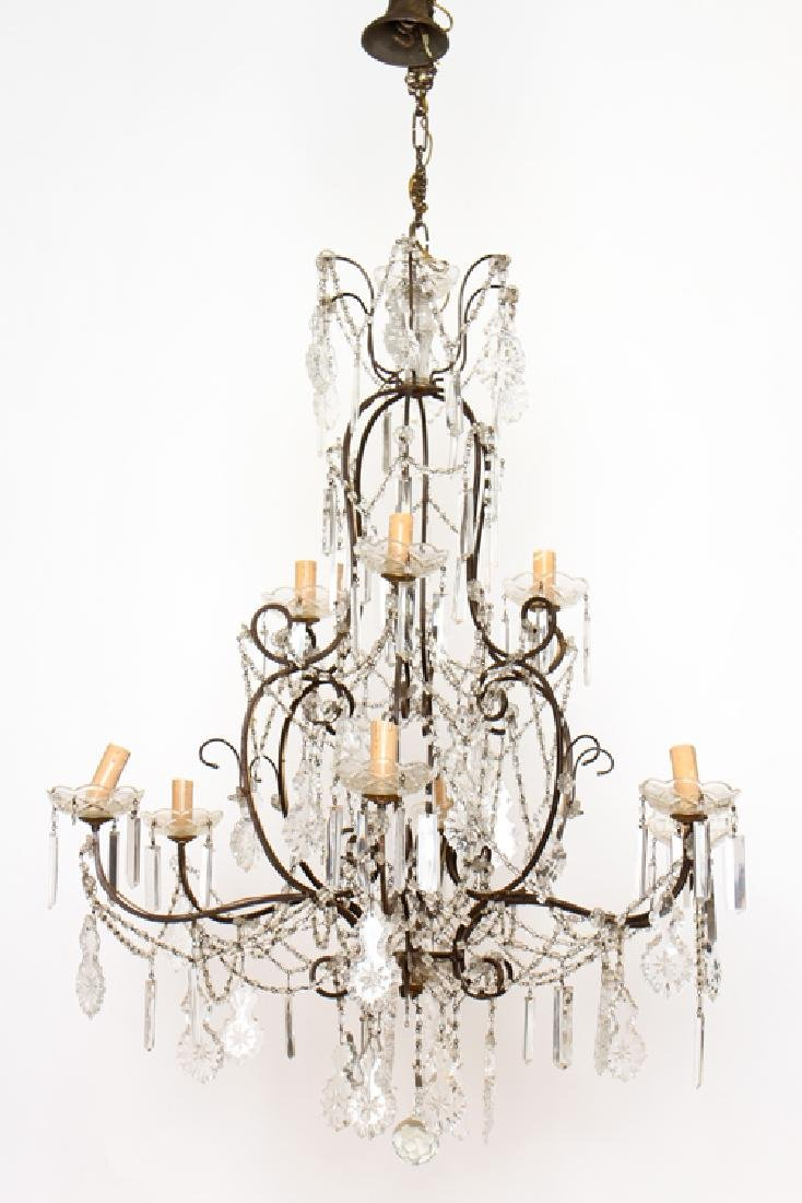 ITALIAN IRON 9 LIGHT CHANDELIER CIRCA 1940